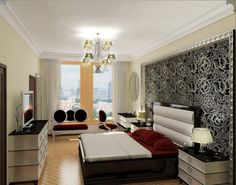 Apartment, Artistic Headboard Black Low Profile Bed Red Mattress And Pillows White Bed Runner Vintage Table Lamps Bedside Tables White Console Table With Drawers Ancient Chandelier Round Wall Mirror Transparent Window Curtain: Interesting Design of Very Small Apartment And Photos