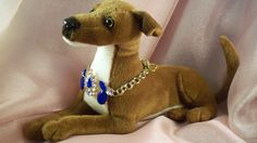 PET Necklace- n9- Dog- Jewelry -Royal Blue Acrylic Crystals- Greyhound- Glitzy -Whippet - Made by USA Artisan - FREE Shipping by AnimaMiaPetJewelry on Etsy