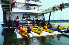 #SafariEndeavour is fully loaded with adventure equipment: kayaks; paddle boards; inflatable skiffs; hiking poles; yoga mats; and snorkel gear and wetsuits; plus, a hydrophone for listening to below-surface sounds and a bow-mounted underwater camera.