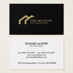 Black GOLD house logo real estate rofessional Business Card Custom office supplies #business #logo #branding