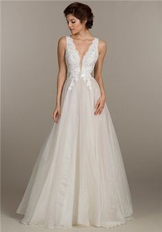 """Madeleine's Daughter Bridal Shop — Bridal Trend: Illusion""""V"""", Alvina Valenta, Rembo Styling, Tara Keely, Allure, beaded bodice, tulle skirt, illusion neckline, bridal gown, wedding gown, ivory, lace, crepe"""