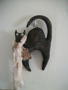 Primitive Halloween Black Cat Wall Hanger