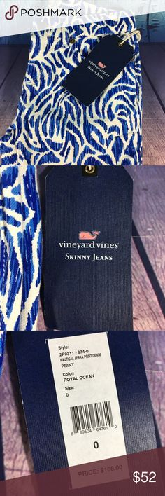 "Vineyard Vines Nautical Zebra Print Denim Pants $108 Vineyard Vines Nautical Zebra Print Denim Royal Ocean Pants 2P0311-9740 NWT  PRODUCT DETAILS  FEATURES & FIT Take a walk on the wild side! Our statement-making women's jeans fit and feel (a little stretch goes a long way) as good as they look.  Fabrics: · 92% cotton, 7% polyester, 1% elastane   Features: · 5 pocket stretch skinny jeans  · Garment washed for lived in feel  · Embroidered whale on back pocket  · Inseam: 29"" (based off size 6)…"