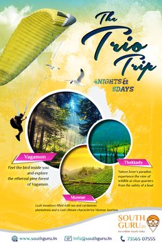 The Trio Trip 1N Vagamon - 1N Thekkady - 2N Munnar  Book Now Call us : +91 7356507555 Mail us: info@southguru.in  #tour #travels #Vagamon #Thekkady #Munnar #kerala #southguru #tourism #package #holidays