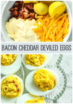 A savory bacon and cheddar cheese deviled egg recipe sure to please anyone you know who enjoys bacon and eggs.