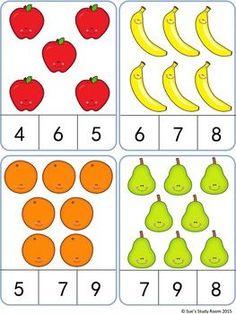Fruit Count and Clip Cards: Numbers - Love You Pintereset Preschool Learning Activities, Preschool Activities, Kids Learning, Montessori Math, Numbers Preschool, Kindergarten Math Worksheets, Math For Kids, Kids Education, Barn