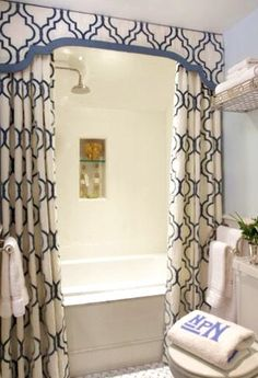 Bath Curtains with pelmet (or whatever the correct term is)
