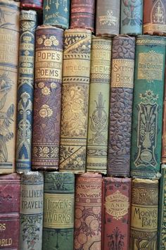 "Vintage book bindings. For ""Someday"" when I do the ""Project of Doom"" quilt. Love these book bindings."