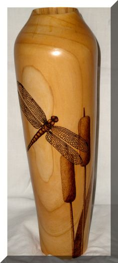 Turning, pyrography and a dragonfly.  Absolutely beautiful!