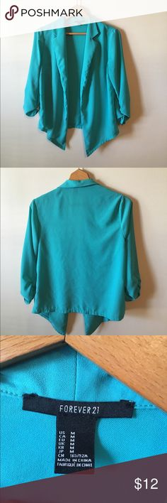 F21 Blazer Pretty teal color. Scrunched sleeves. Thin cotton material. Size M. Same/next day shipping. All bundles 30% off. Forever 21 Jackets & Coats Blazers