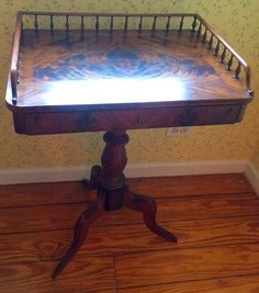 Gorgeous Antique Tigerwood Gallery Occasional Table