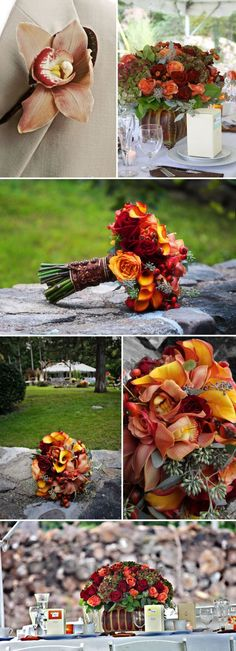 fall country weddings | Check out these amazing fall flowers- I love all the rich reds and ...