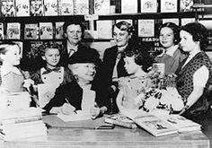 Laura Ingalls Wilder with school children; probably 1950 or so.