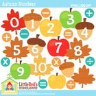 This is a cute collection of autumn-themed clipart featuring:  - Numbers 0 to 10 and blank versions of three unique designs (leaves, apples, acorns...
