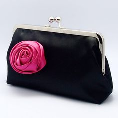 Elegant Black Satin clutch purse with fuchsia satin flower (L-059)