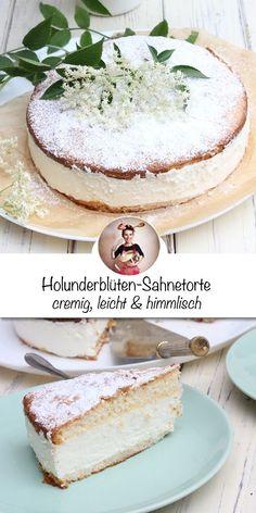 Holunder-Sahnetorte Rezept. Ein zarter Biskuitteig gefüllt mit einer lockeren, leichten und aromatischen Creme. Der Kuchen ist feucht und die Aromen von Zitrone und Holunderblüten kommen in jedem Bissen vor! Wie du diese Torte backen kannst zeige ich dir auf www.sonntagsistkaffeezeit.de #holundertorte #holundersirup #holunderblütensirup #holunder #holunderblüten #cake #joghurttorte #tortebacken