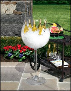 This giant wine glass cooler will get your party started right. This acrylic wine glass stands 36 inches tall. Giant Wine Glass, Def Not, My Pool, Festa Party, Wine Parties, Outdoor Parties, Backyard Parties, In Vino Veritas, Wine Time