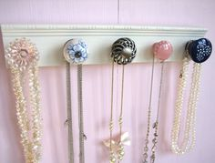 Necklace Organizer / Hanging Jewelry Rack with Pink, Blue, and Silver Knobs Hanging Jewelry Organizer, Jewelry Hanger, Jewelry Organization, Hang Jewelry, Blue And Silver, Pink Blue, Necklace Holder, Diy Necklace, Hanging Necklaces