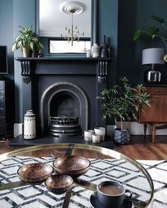 Inchyra Blue and Dove Tale Dark Living Rooms, Living Room Sets, Living Room Designs, Living Room Decor, Living Spaces, Style At Home, Inchyra Blue, Victorian Living Room, Victorian Fireplace