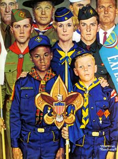 old scouts  during the era when boy scouts were proud to wear their uniform.