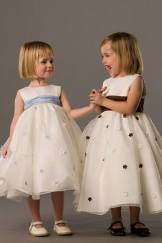 Bateau empire waist with hand made flower dress for flower girl 4 fg I like the one on the right