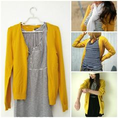 Un inverno giallo mostarda. Winter glam: Stripes and Yellow!!! (cardigan and sweater) #Sweater #Yellow #Stripes #Navy