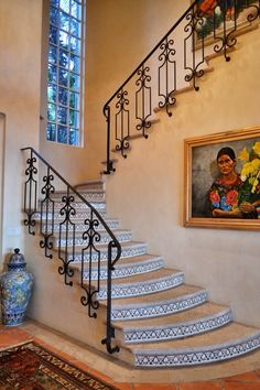 Beautiful Spanish Style wrought Iron railing on stone steps with hand painted tiles. Mexican Home Style. Home. Spanish Colonial Home Spanish Colonial Homes, Spanish Style Homes, Spanish House, Spanish Tile, Spanish Revival, Style At Home, Hacienda Style Homes, Hacienda Decor, Tile Stairs