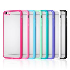 iPhone 6s Case, iPhone 6 Case, Pofesun 8 Pack Ultra Thin Slim Silicone Bumper with Frosted Clear Hard Back Case Cover for iPhone 6(2014)/6S (2015)4.7'', Shock Protection Secure Grip. 8 COLORS IN ONE PACKAGE: There're 8 colors in one package (black, white,