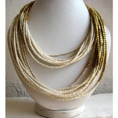 Statement Necklace/Off White Necklace/Multi Strand Necklace/Chunky Necklace/Beaded Necklace/Bib Necklace/Beaded Jewelry