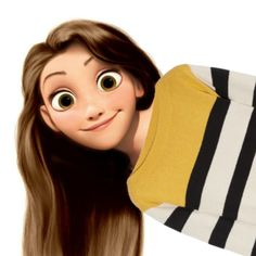 Rapunzel in Brown hair and Yellow, Black and Whit striped shirt NOT MY EDIT Rapunzel Edits, Rapunzel And Eugene, Disney Rapunzel, Tangled Rapunzel, Film Disney, Arte Disney, Disney Style, Disney Love, Disney And Dreamworks