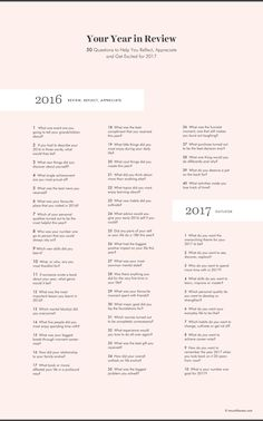 Your Year in Review: 50 Questions to help you reflect, appreciate and get excited for 2017