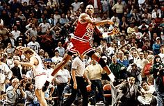 22a24fcceb9 Michael Jordan reacts after hitting the game winning basket over Cleveland   Craig Ehlo in Game 5 of the NBA playoffs May (Chicago Tribune photo by Ed  Wagner ...
