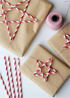 Christmas gifts with straws - Christmas gift packaging ideas - # . Christmas gifts with straws – Christmas gift packaging ideas – Creative Gift Wrapping, Creative Gifts, Wrapping Ideas, Paper Wrapping, Creative Ideas, Wrapping Presents, Christmas Gift Wrapping, Christmas Presents, Christmas Ideas