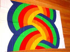 Finlayson Rainbow Knot Fabric Panel- 1977 Groovy Colorful ScreenPrint for Wall Art. $26.00, via Etsy.
