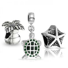 Bling Jewelry Sterling Nautical Turtle Starfish Palm Tree Bead Set Fits Pandora