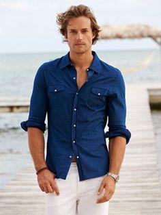men l #menswear 2015 / handsome in a denim shirt + white jeans / men's spring / summer l boat & resort fashion /  #men