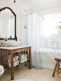 A charming white cottage bathroom makeover. Inspiration for utilizing your space thrifty design and creating a home you love. A charming white cottage bathroom makeover. Inspiration for utilizing your space thrifty design and creating a home you love. Bad Inspiration, Bathroom Inspiration, Bad Styling, Bathroom Spa, Bathroom Cleaning, Bathroom Ideas, Master Bathroom, White Bathroom, Bathroom Designs