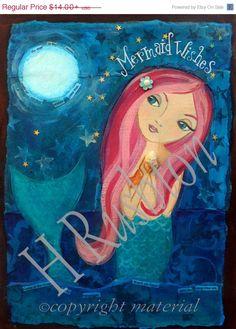 Holiday Sale Mermaid Art Children's Art Mermaid by HRushtonArt