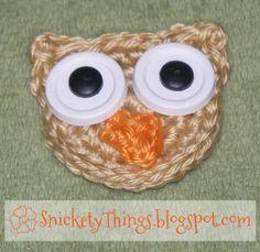 Jenny Owl crochet applique - cute but I would crochet the eyes.
