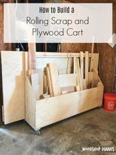 How to Build a Mobile Plywood Storage and Scrap Wood Shop Cart - Storage Cart - . - How to Build a Mobile Plywood Storage and Scrap Wood Shop Cart – Storage Cart – Ideas of Storag - Lumber Storage Rack, Wood Storage Rack, Plywood Storage, Lumber Rack, Storage Cart, Storage Ideas, Basement Storage, Tool Storage, Garage Storage