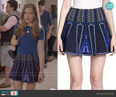 Emma's black and blue patterned skirt on Scream. Outfit Details: http://wornontv.net/50308/ #Scream