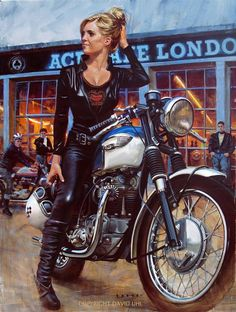 Girl on a Triumph at the Ace Cafe - Another classic from David Uhl