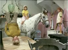 Pippi Pippi Pippi. Pippi Langstrømpe and her mates, friends playing in Pippi's house. The floor is poison, horse, photo, dear childhood memories