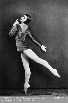 Vera Nemchinova in Les Biches, considered the most elegant russian ballet.    Les Biches is a ballet, first performed by the Ballets Russes in 1924, with choreography from Bronislava Nijinska and music from Francis Poulenc.