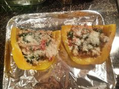 Bell Peppers stuffed with Chicken Sausage, Goat Cheese, Arugula, and Tomatoes- Easy week night dinner!