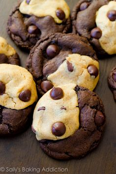 Soft Baked Peanut Butter Chocolate Swirl Cookies by sallysbakingaddiction #Cookies #Peanut_Butter #Chocolate