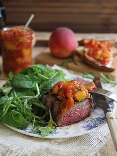 Tomato peach chutney with rosemary