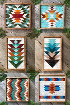 Southwestern Inspired Decorating with Geometric Wood Wall Art in Colorful Patterns for Living Room - Western Home Decor Living Room Home Decor Wall Art, Wood Wall Art, Wall Decor Crafts, Mosaic Wall Art, Unique Wall Decor, Southwestern Decorating, Southwestern Wall Decor, Southwestern Style, Western Rooms