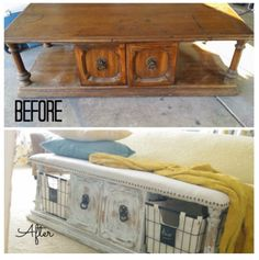 Old coffee table now new bedroom bench or tv stand