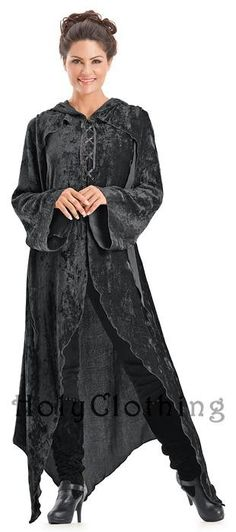 Gwendolyn Enchanted Flowing Velvet Lace-Up Hooded Maxi Jacket - Dresses